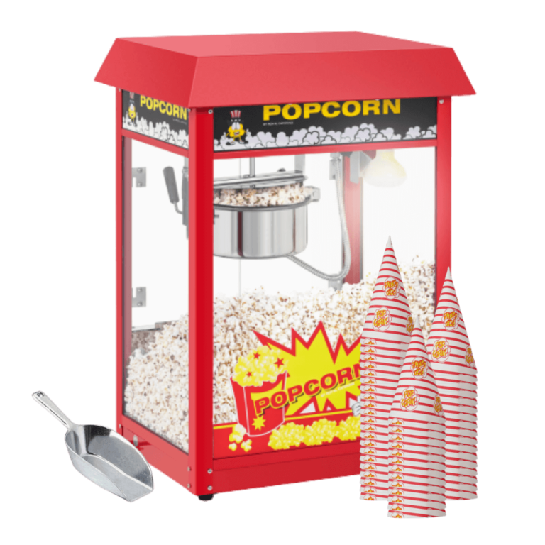 Popcornmaskine-med-bægre-og-metal-ske
